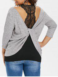 Plus Size Twist Front with Lace Trim Tank Top -