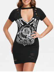Punk Print Cut Out Ripped Dress -