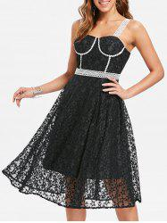 Contrast Star Lace Overlay Dress -