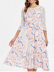 Sheer Lace Floral Chiffon Flare Dress -