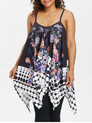 Plus Size Floral Print Asymmetrical Cami Top -
