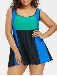 Scoop Neck Plus Size Color Block Tankini Set -