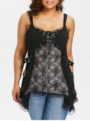 Plus Size Spider Pattern Corset Tank Top -