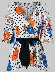 Flower Polka Dot Print Faux Wrap Blouse -