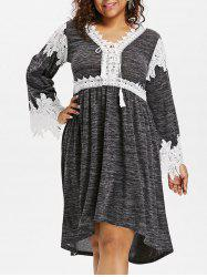 Plus Size Marled Lace Up Dress -