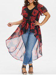 Plus Size Floral Blouse with V Neck Tank Top -