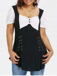 Plus Size Bow Bust Lace Up T-shirt -