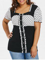 Plus Size Retro Flouncy Sweetheart Neck T-shirt -