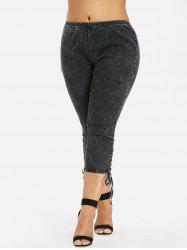 Plus Size Side Shirred Capri Jeans -