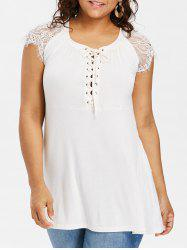 Lace Cap Sleeve Plus Size Lace Up T-shirt -