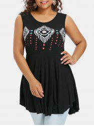 Plus Size Heart Print Peplum Tank Top -