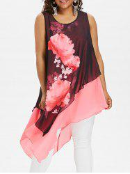 Plus Size Floral Sleeveless Longline Blouse -