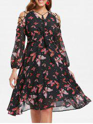 Butterfly Print Lace Up A Line Dress -