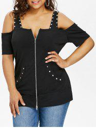 Plus Size Square Neck Zip Up T-shirt -