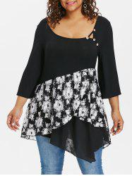 Plus Size Floral Three Quarter Sleeve T-shirt -