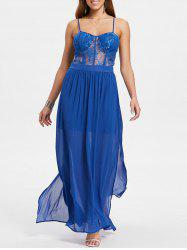 Sheer Lace Panel Cami Strap Chiffon Dress -
