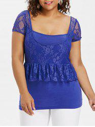 Plus Size Square Neck Ruffle T-shirt -