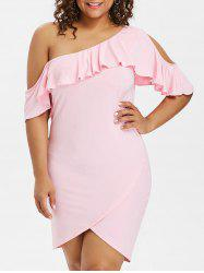 Plus Size Skew Collar Tulip Dress -
