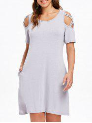 Round Neck Criss Cross Sleeve Shift Dress -