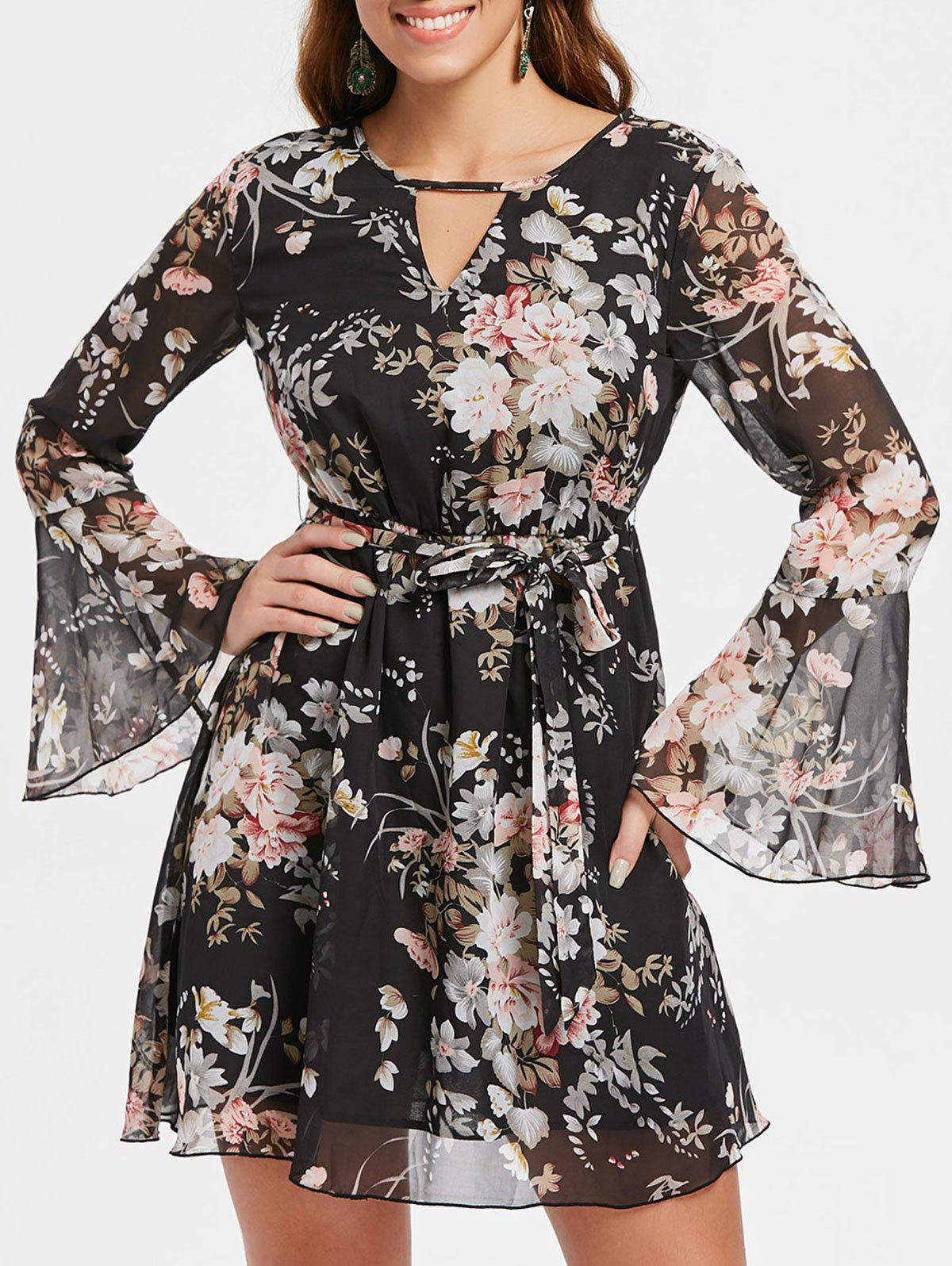 Trendy Long Sleeve Mini Floral Chiffon Dress