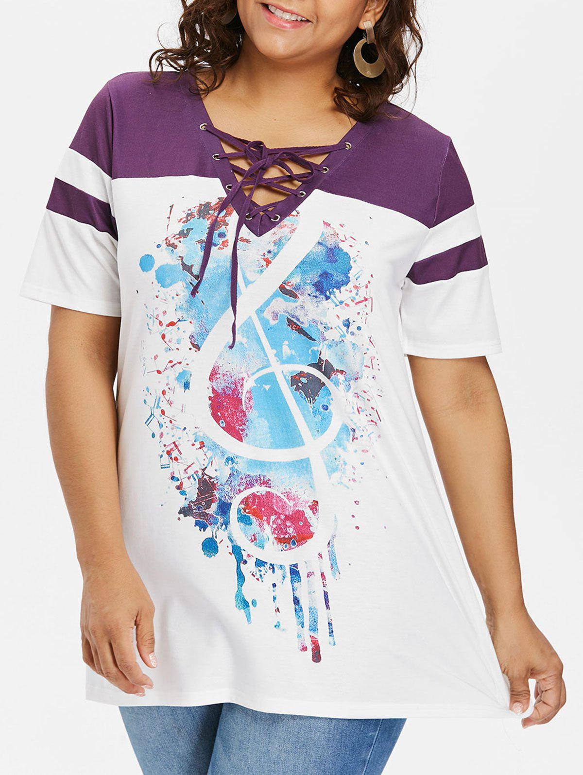 Shop Lace Up Collar Plus Size Print T-shirt