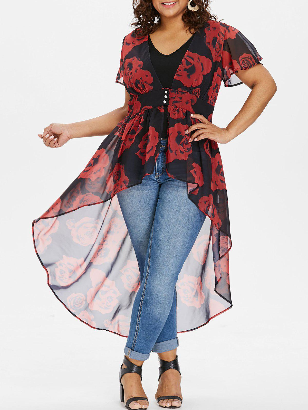 Affordable Plus Size Floral Blouse with V Neck Tank Top