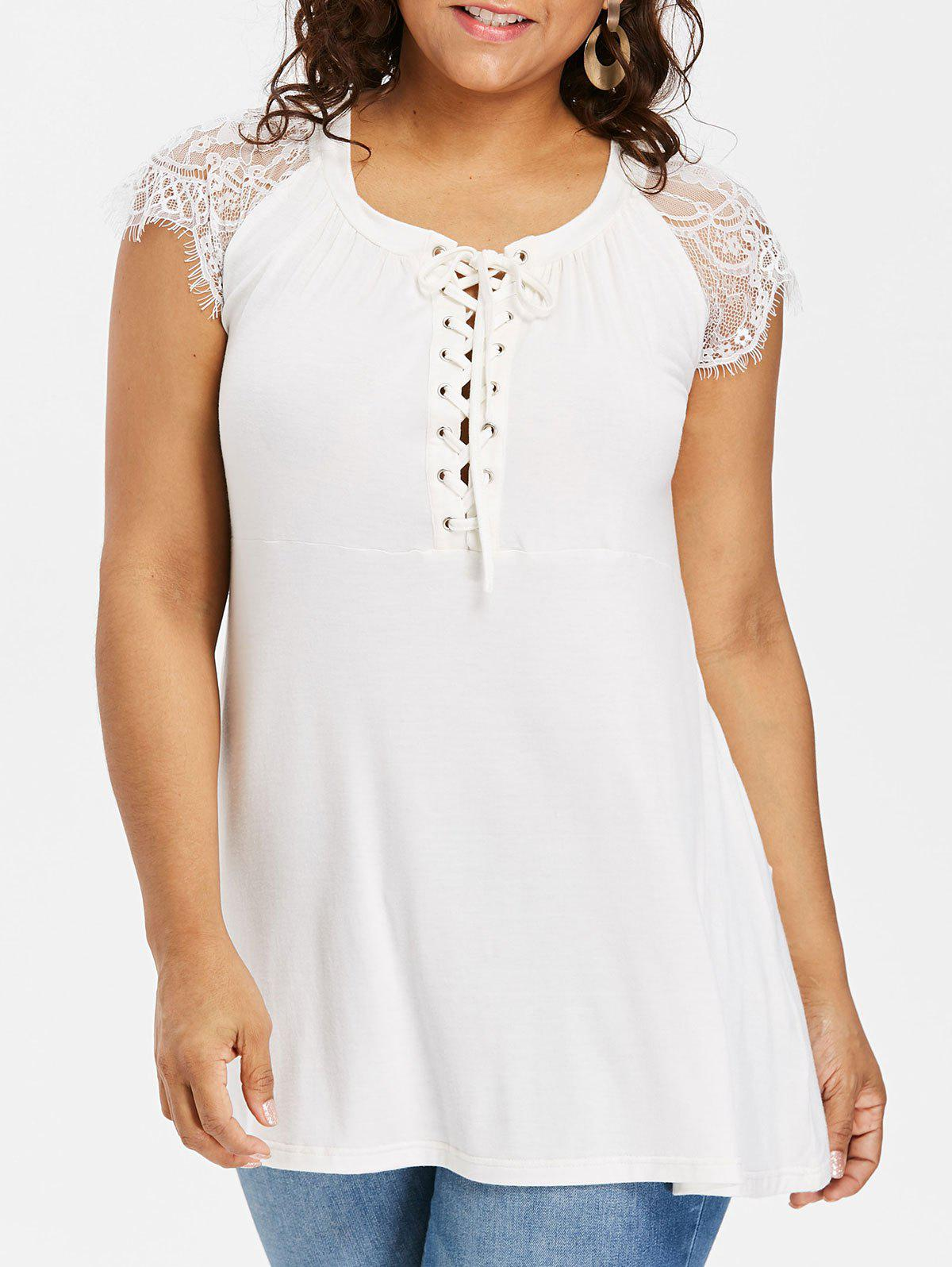 Trendy Lace Cap Sleeve Plus Size Lace Up T-shirt