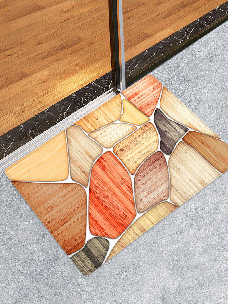 Latest Wooden Piece Printed Flannel Skidproof Area Mat
