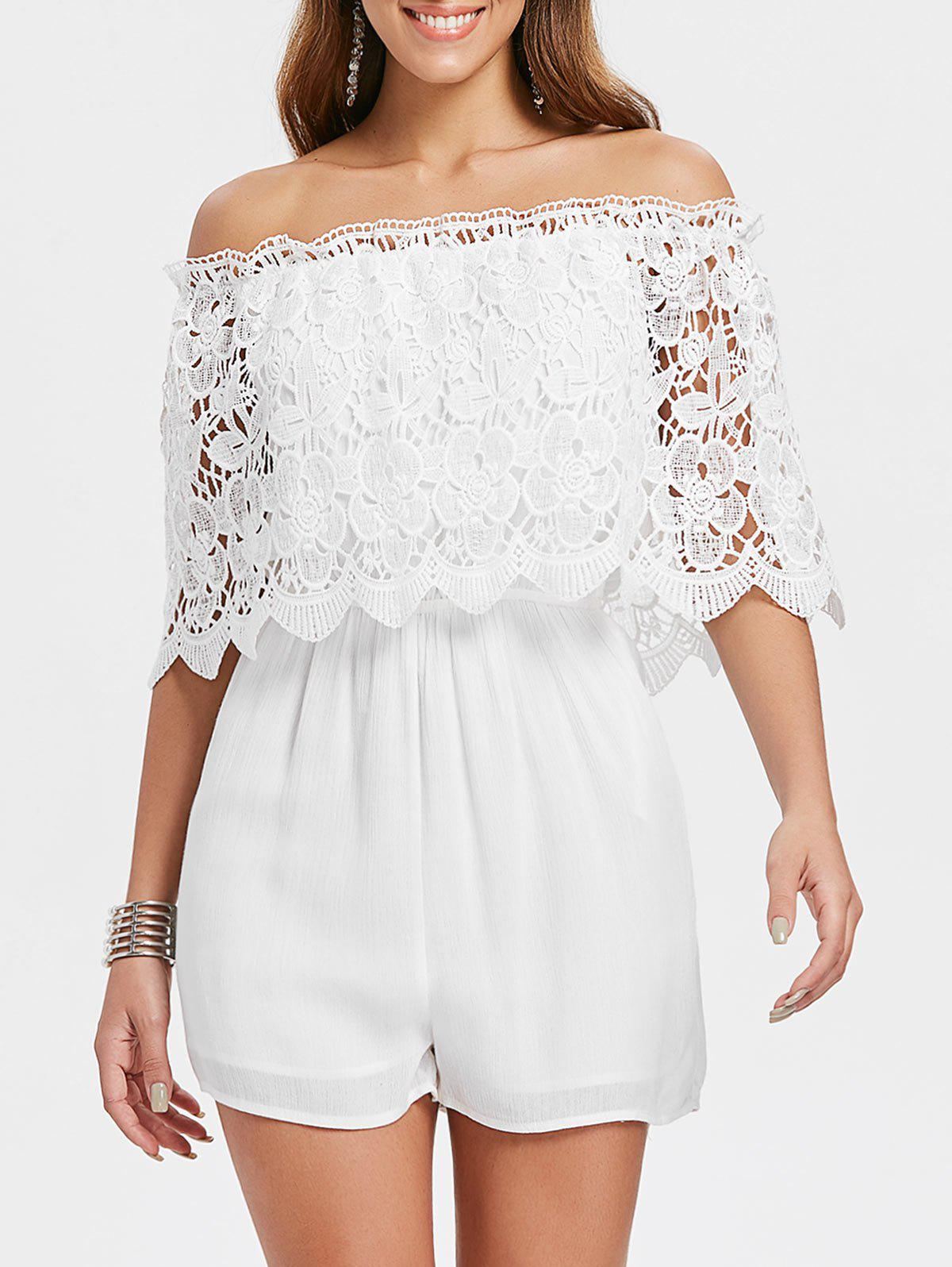 Sale Hollow Out Lace Overlay Romper