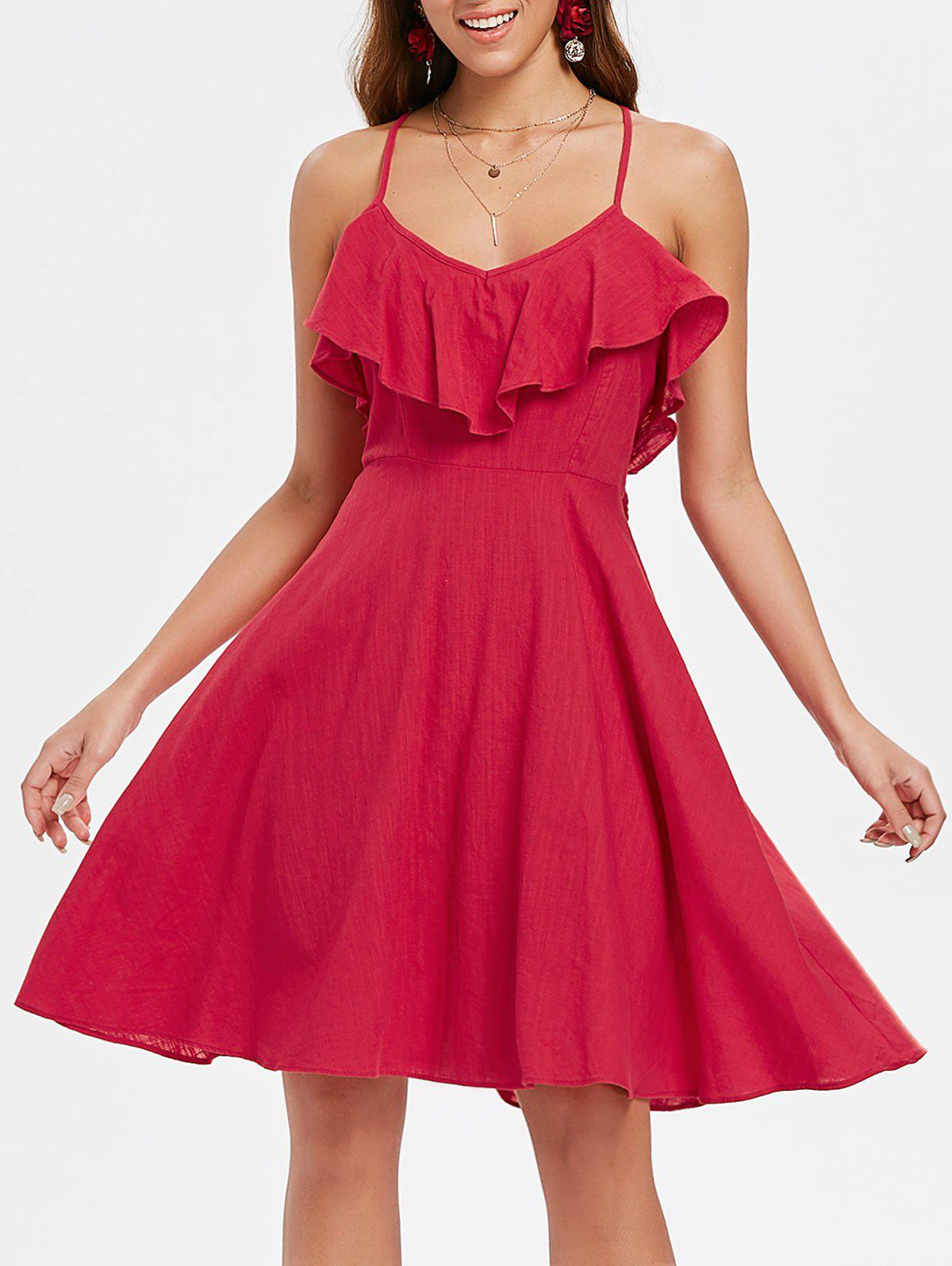 Trendy Ruffle Insert Back Criss Cross A Line Dress
