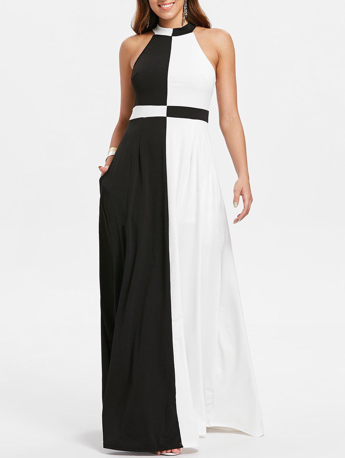 Buy Color Block Sleeveless Floor Length Dress