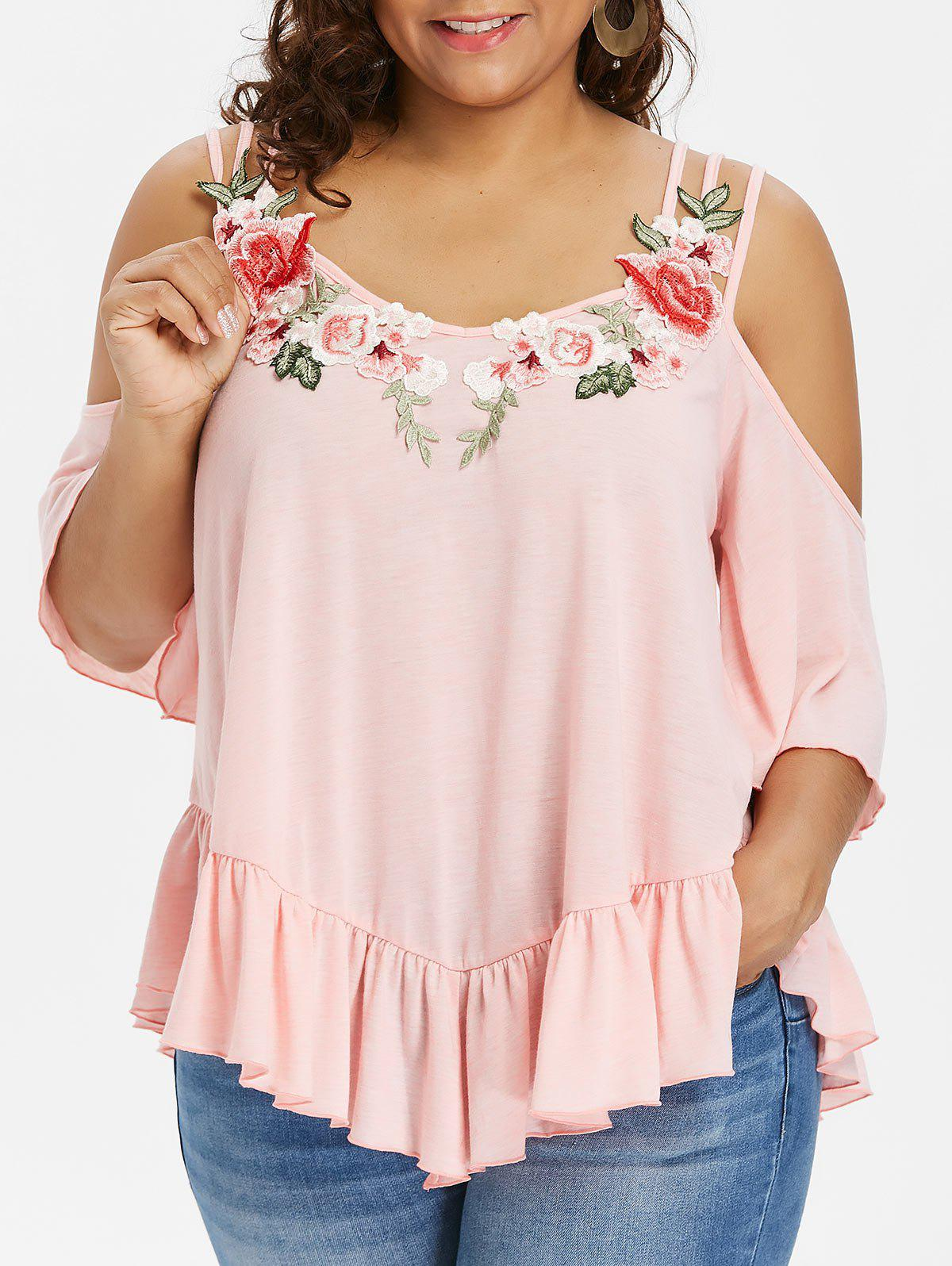 Chic Rosegal Plus Size Cold Shoulder Strappy T-shirt