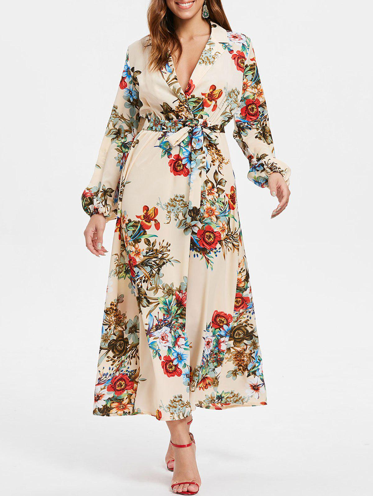 Hot Long Sleeve Lapel Collar Maxi Floral Dress