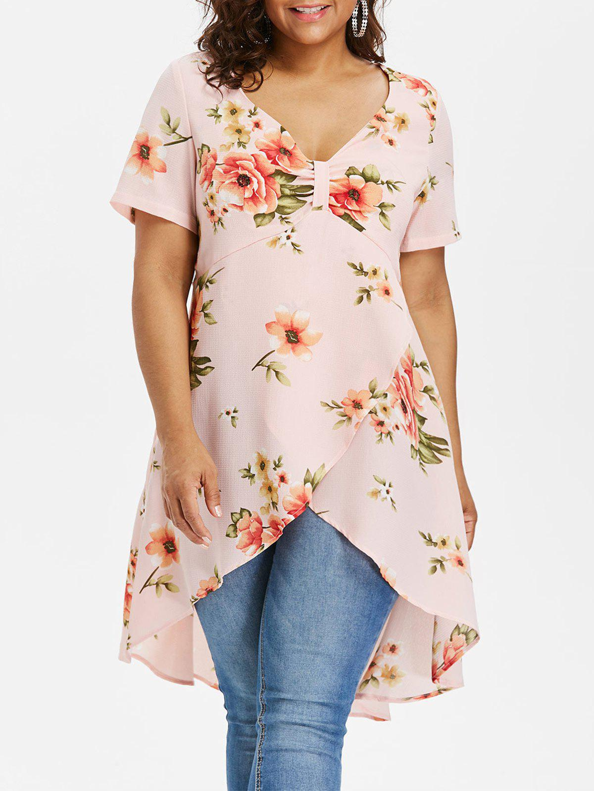 Unique Plus Size Empire Waist Floral Tulip Blouse