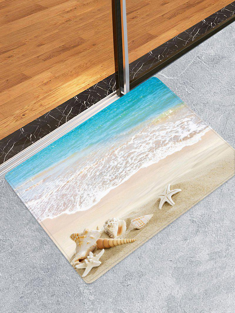 Fancy Beach Starfish Conch Pattern Flannel Skidproof Mat