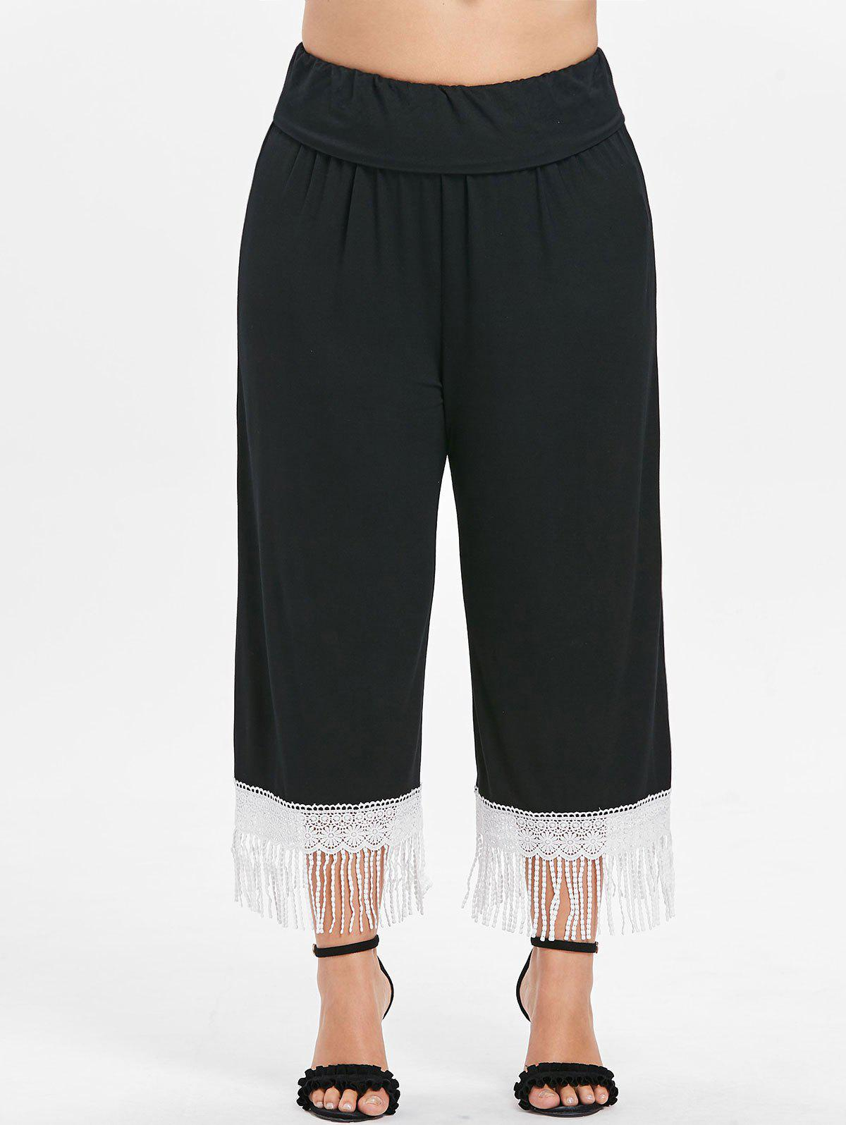 Best Plus Size Lace Trim Fringed Pants