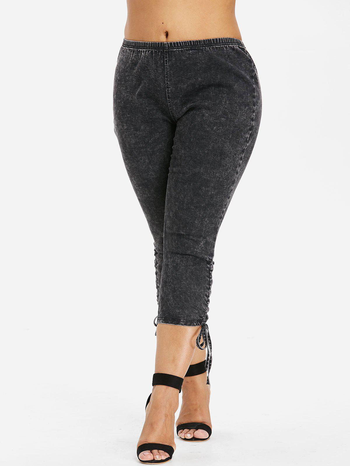 Outfits Plus Size Side Shirred Capri Jeans
