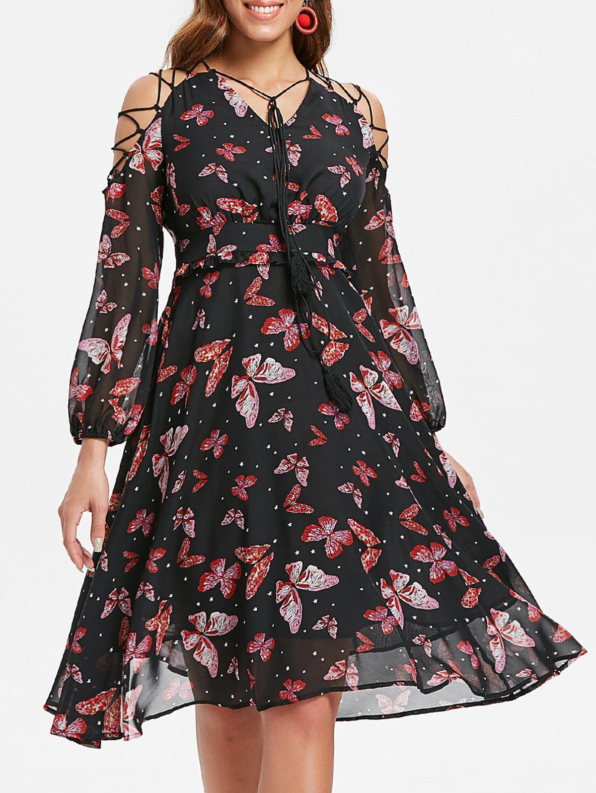 Outfit Butterfly Print Lace Up A Line Dress