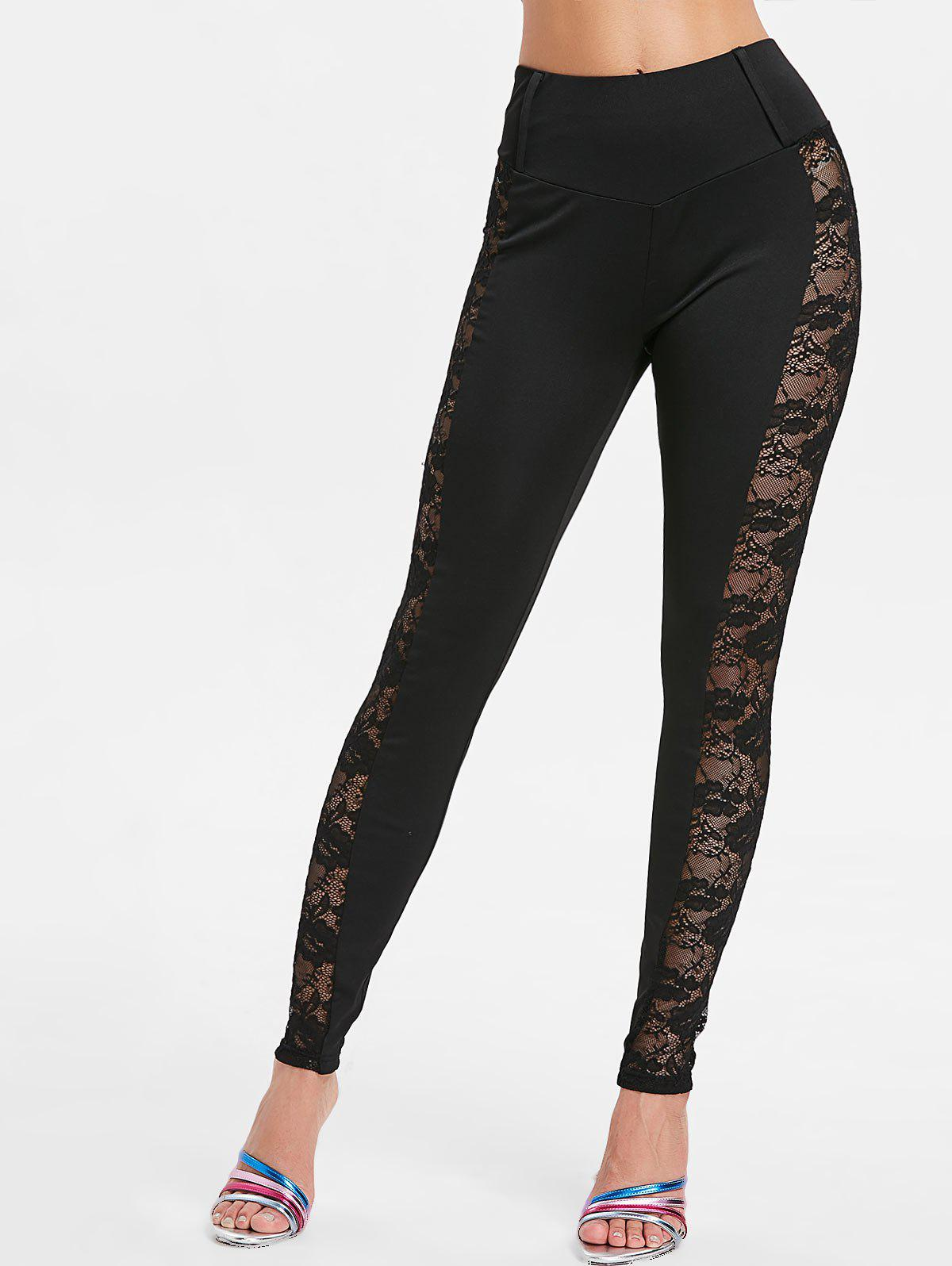 Affordable Lace Side Wide Waist Leggings