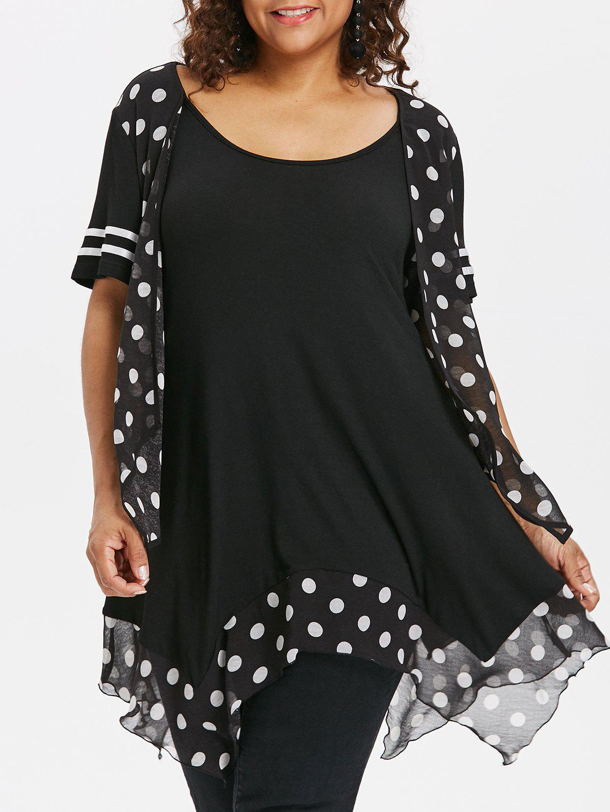 Hot Plus Size Polka Dot Handkerchief T-shirt