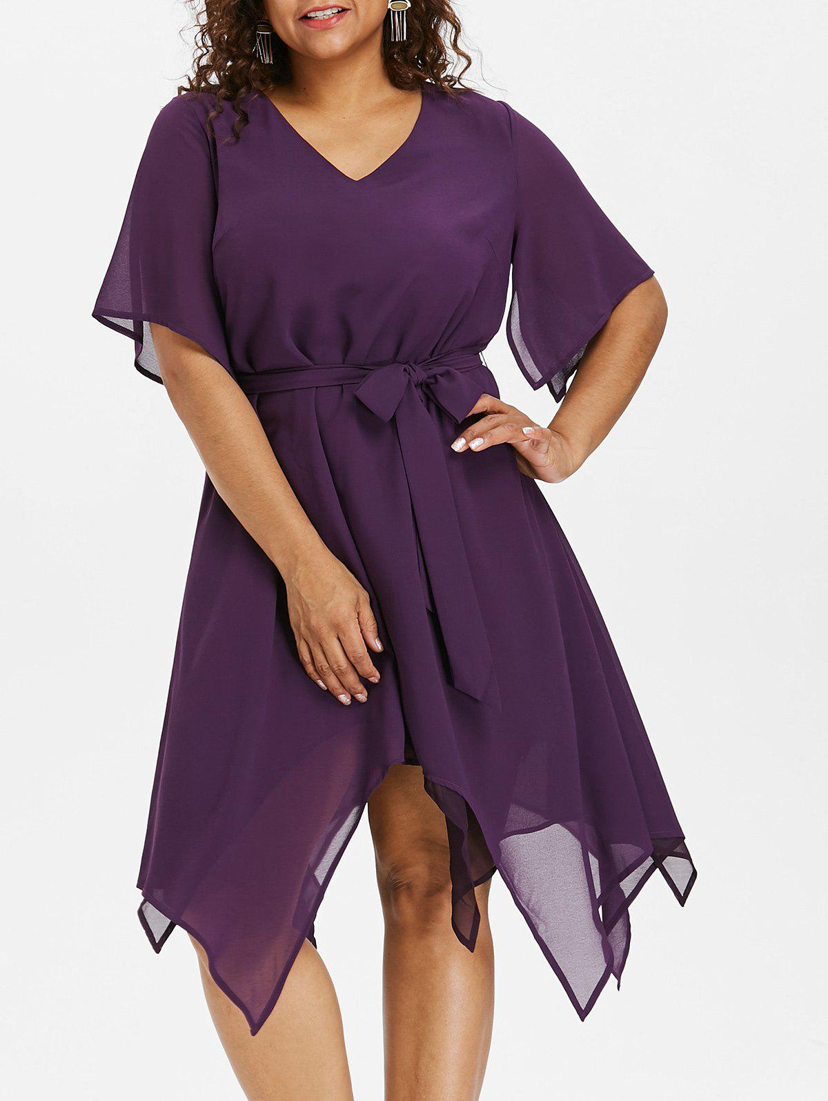 Cheap Plus Size Asymmetric V Neck Dress