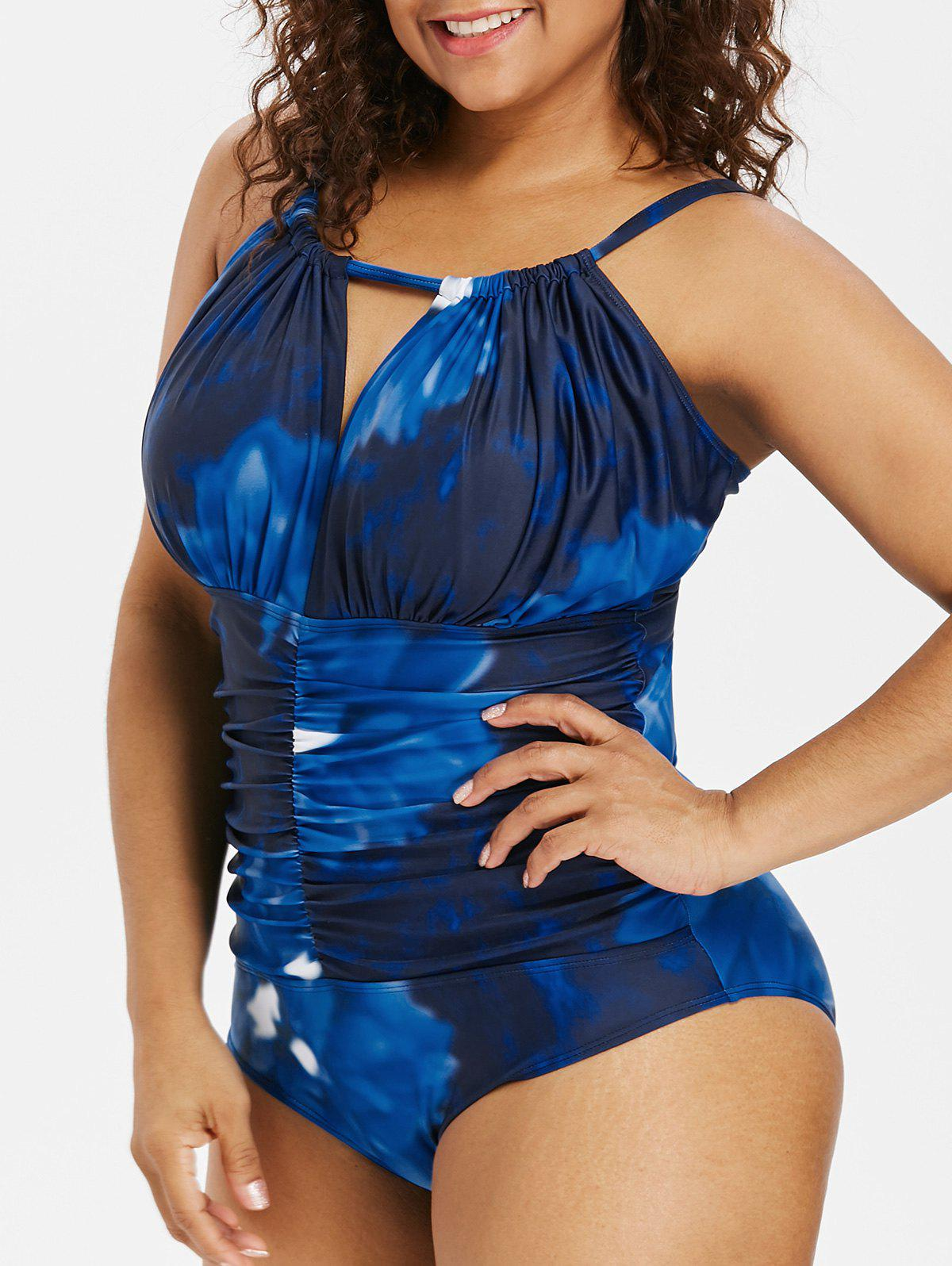 Best Color Block Plus Size Ruched Swimwear