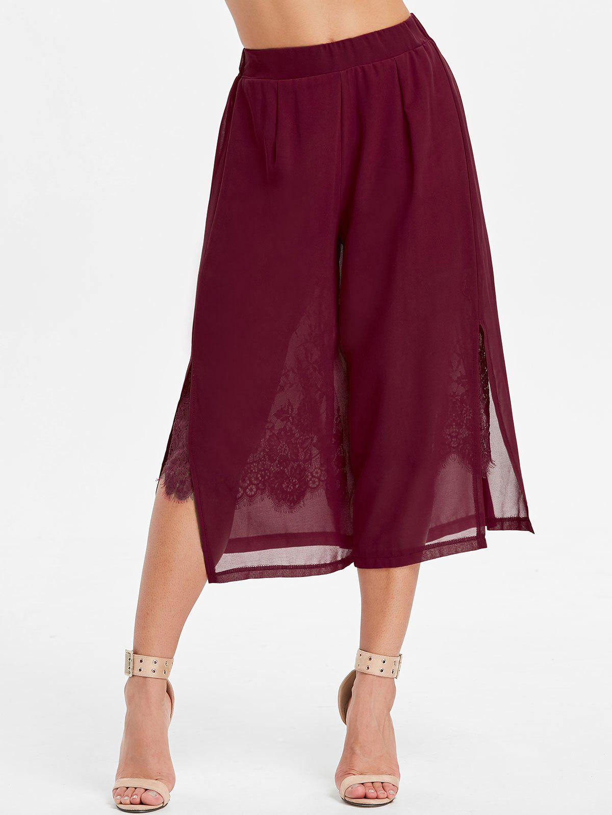Unique High Rise Lace Insert Chiffon Pants