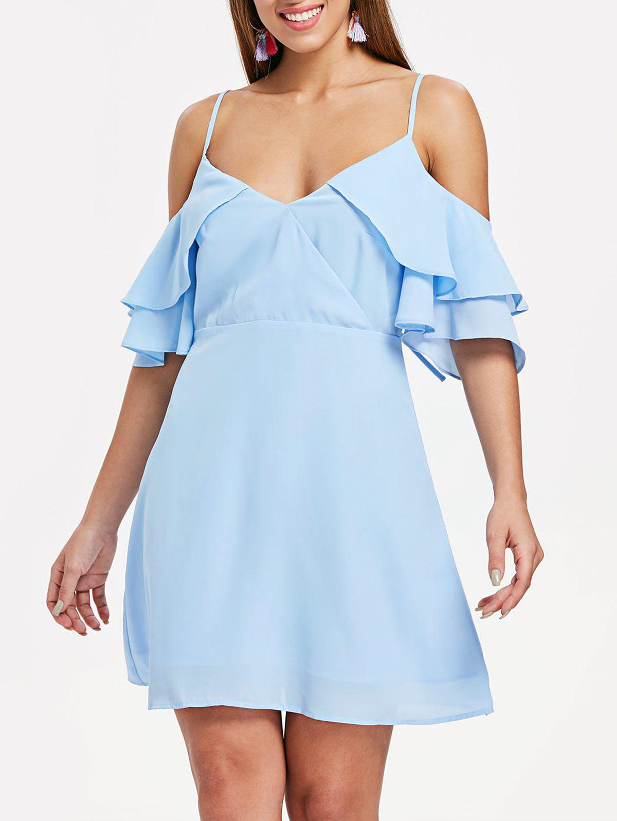 Affordable Ruffle Insert Back Cut Out A Line Dress