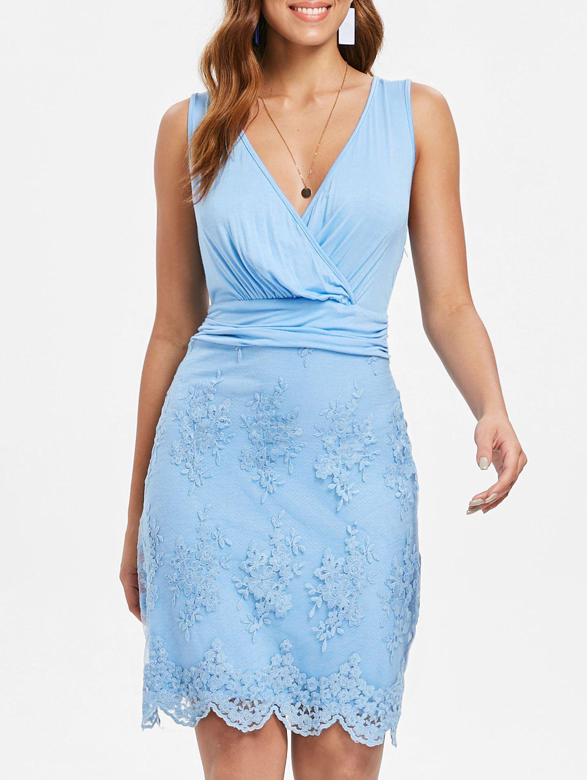 Discount Lace Insert Sleeveless Surplice Dress
