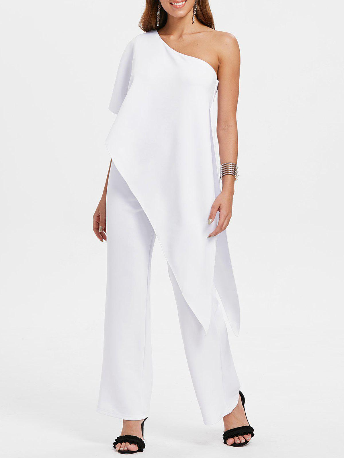 Discount Overlay One Shoulder Jumpsuit