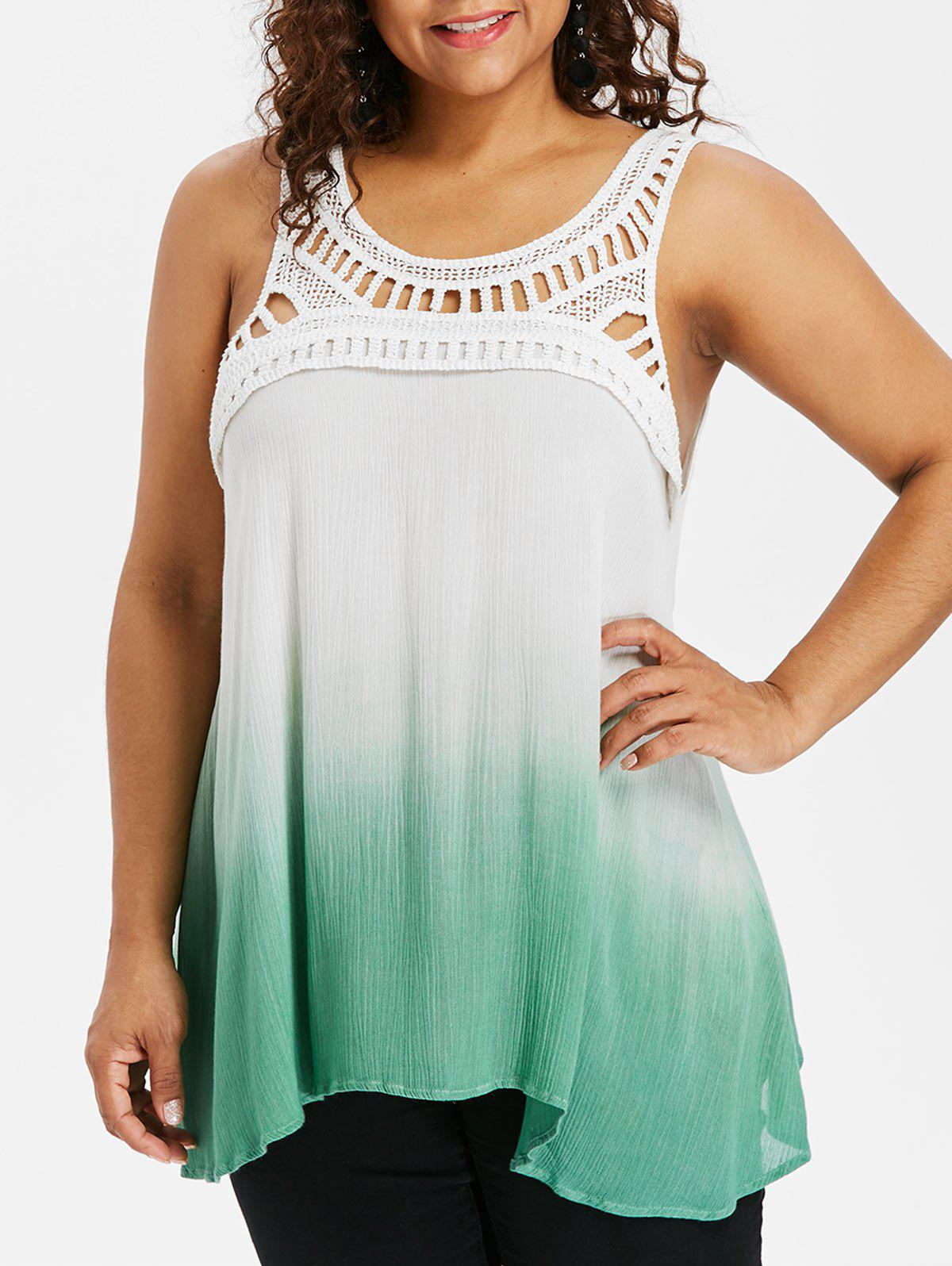 Buy Plus Size Ladder Cut Gradient Color Tank Top