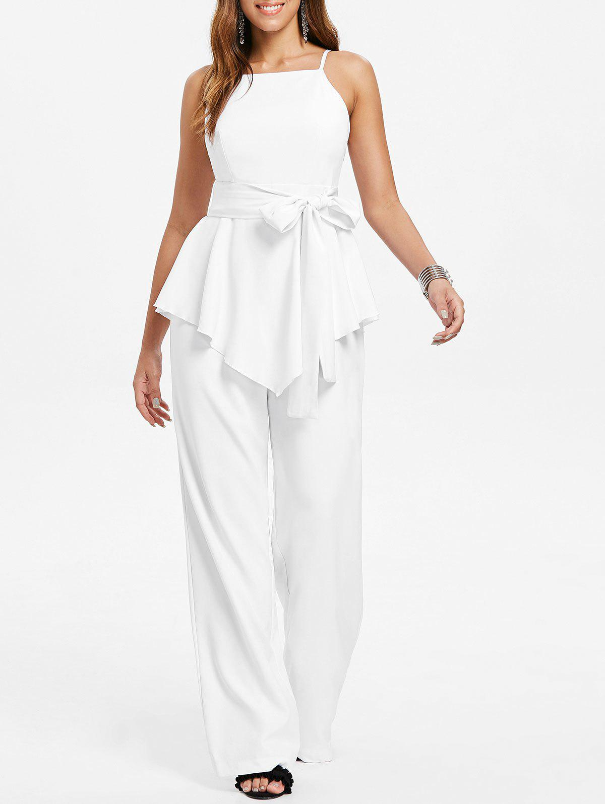 Cheap Spaghetti Strap Belted Jumpsuit