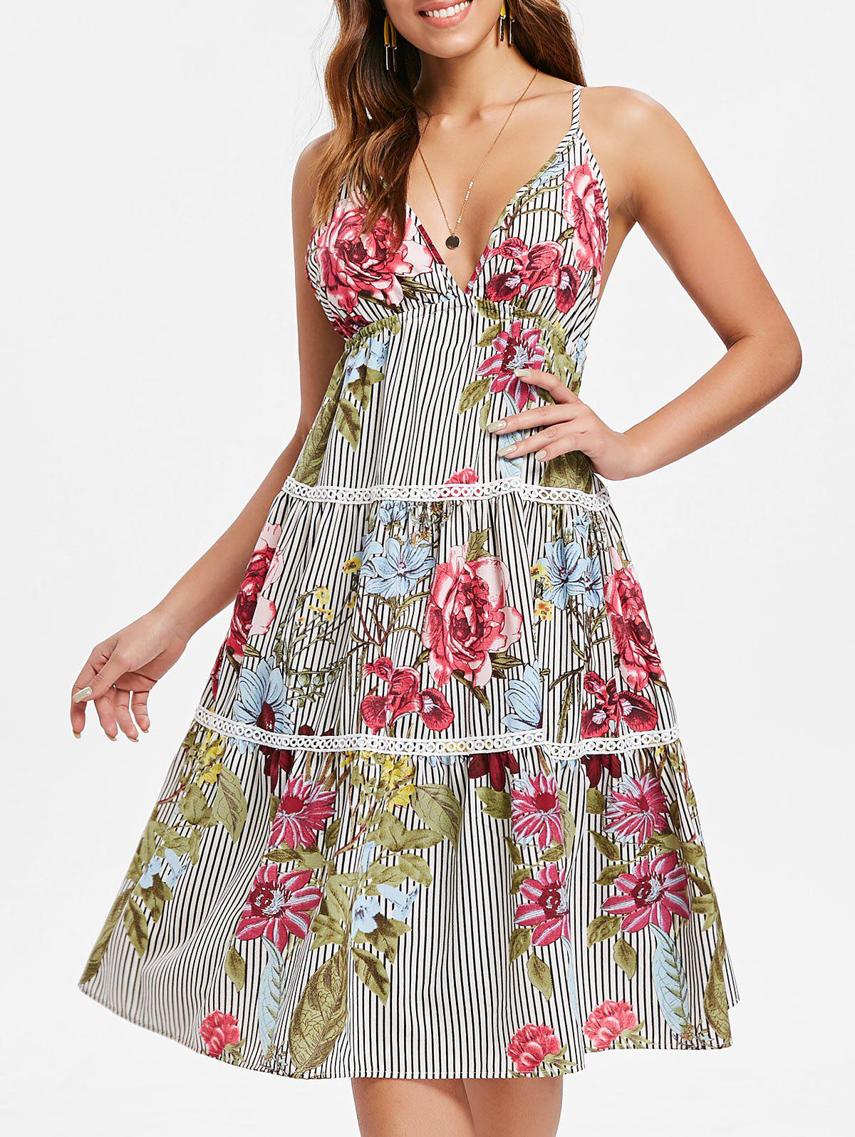 Latest Floral Stripe Tiered Midi Slip Dress