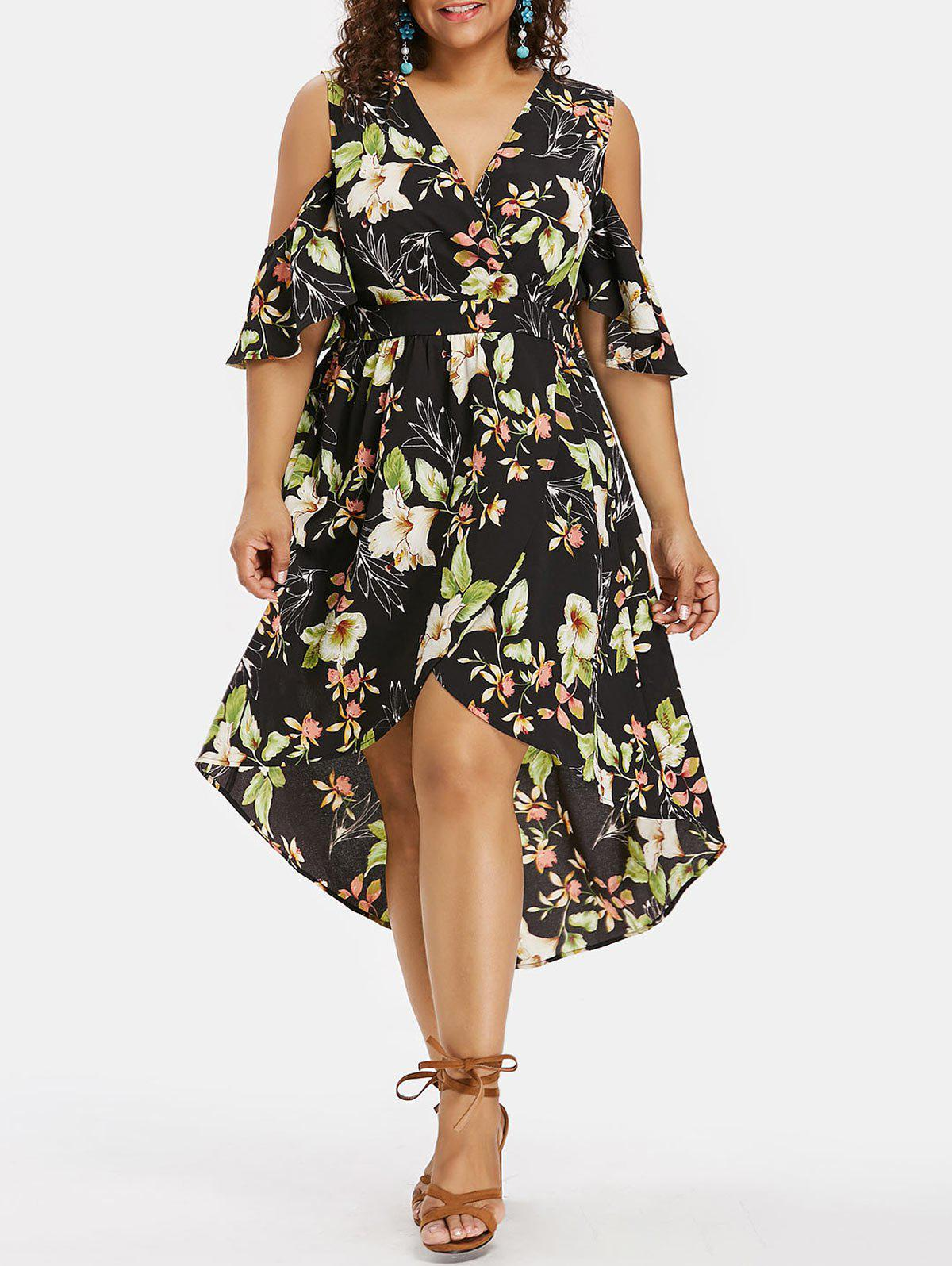Outfit Cold Shoulder Plus Size Floral Print High Low Dress